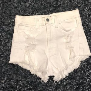 High-waisted Distressed Jean Short Shorts